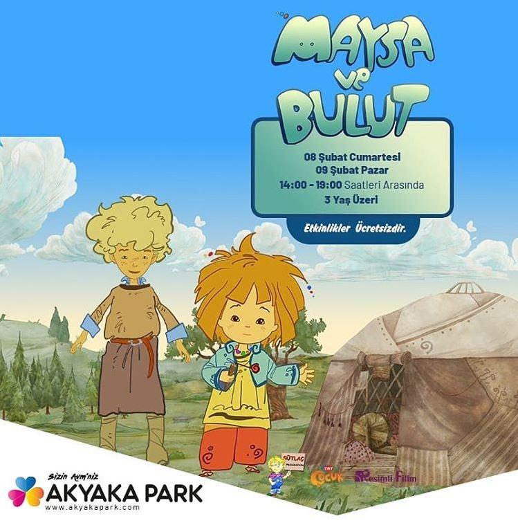Sevilen çizgi film kahramanları Maya ve Bulut Akyaka Park'ta!
