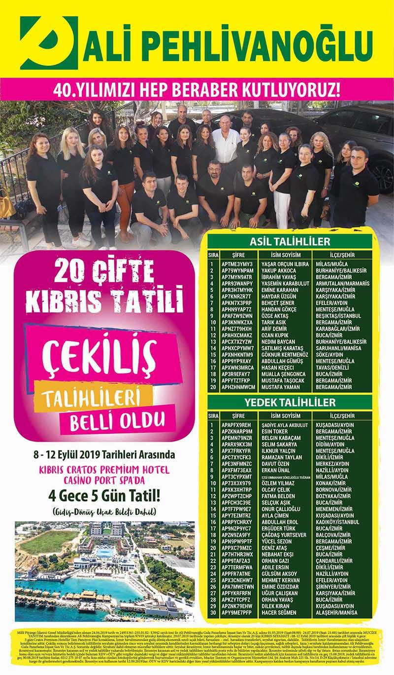 Ali Pehlivanoğlu Kıbrıs Tatili Çekiliş Sonucu Açıklandı!