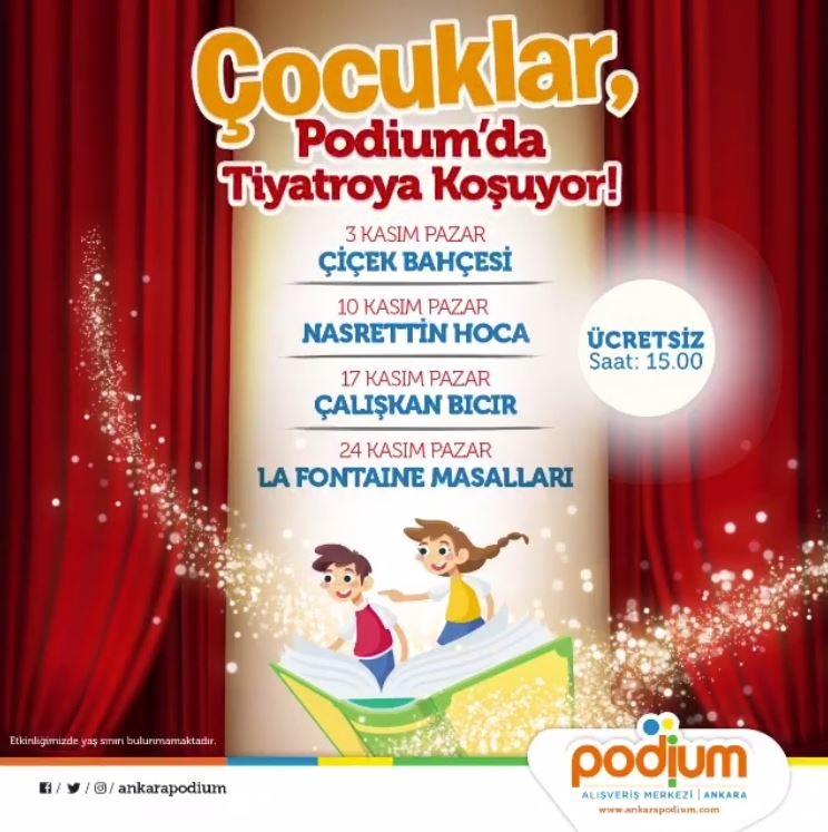 Çocuklar, Podium'da tiyatroya koşuyor!
