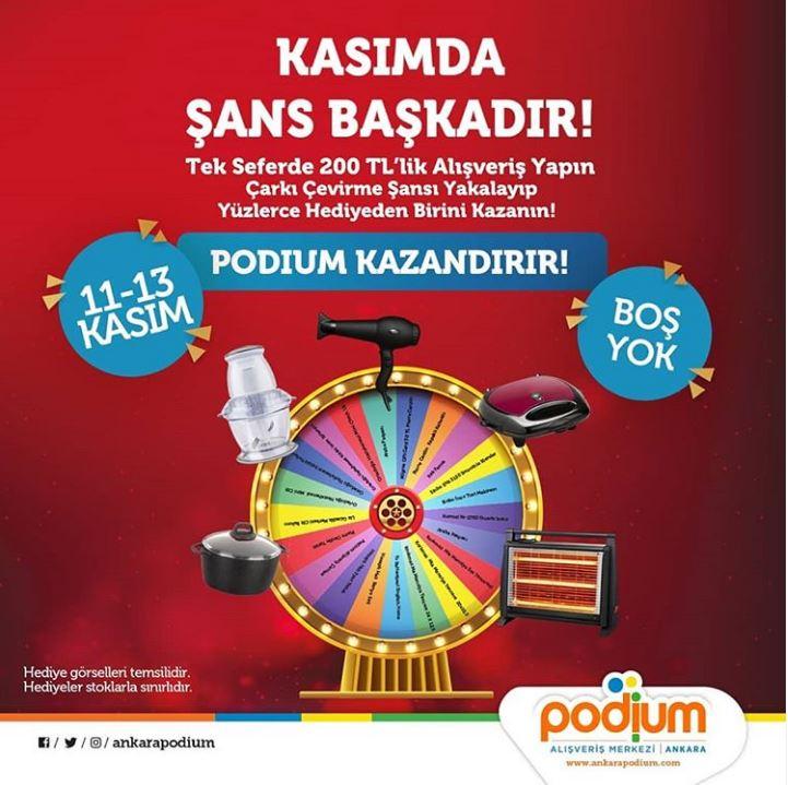 Ankara Podium AVM'de Kasımda şans başkadır!