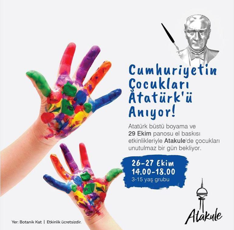 Cumhuriyetin çocukları kentin simgesi Atakule'de Atatürk'ü anıyor!