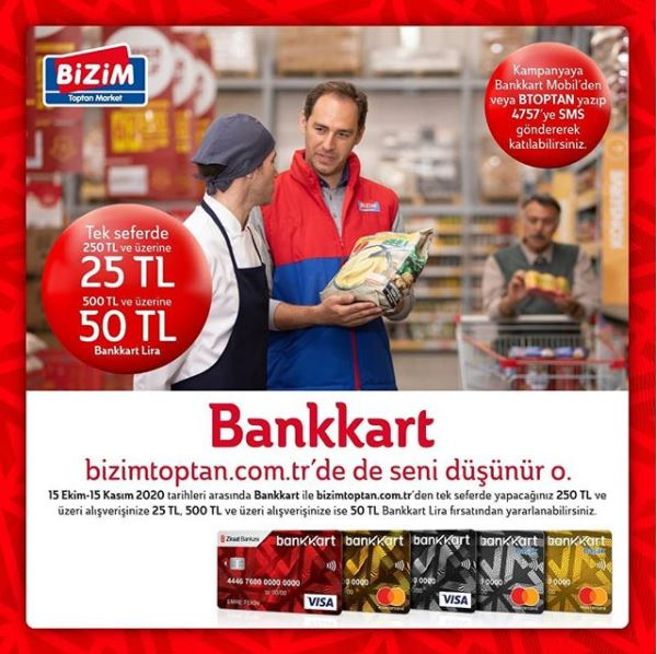 Bankkart ile www.bizimtoptan.com.tr 'de 50 TL Bankkart Lira fırsatı!