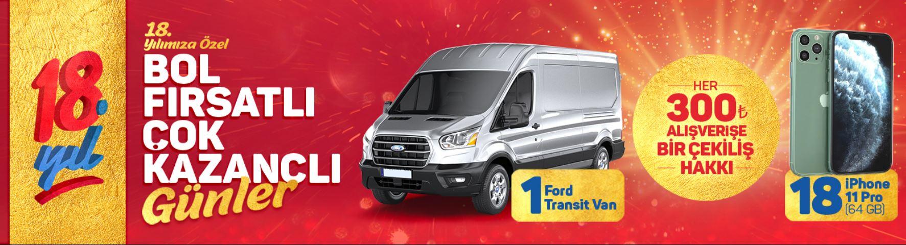 Bizim Toptan Ford Transit Van Çekiliş Kampanyası!