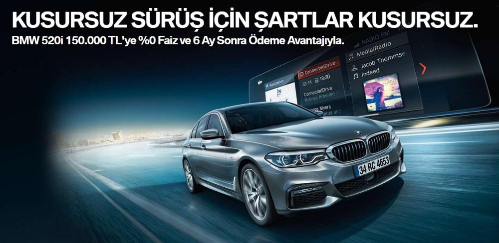 BMW 520i 150.000 TL'ye %0 Faiz ve 6 Ay Sonra Ödeme Avantajıyla.