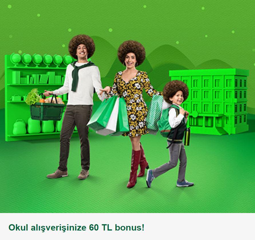 Okul alışverişinize 60 TL bonus!