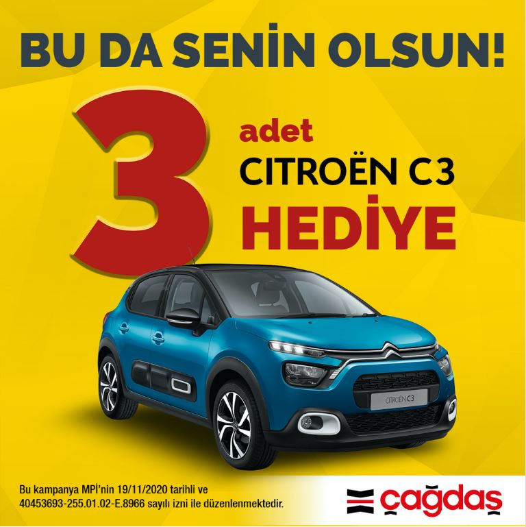 Çağdaş Market 3 Citroen C3 Çekiliş Kampanyası!