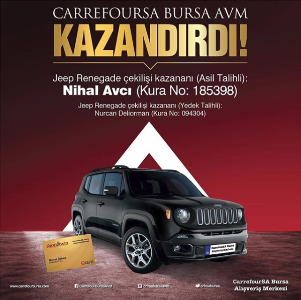 CarrefourSA Bursa AVM Jeep Renegade Çekiliş Sonucu Açıklandı!
