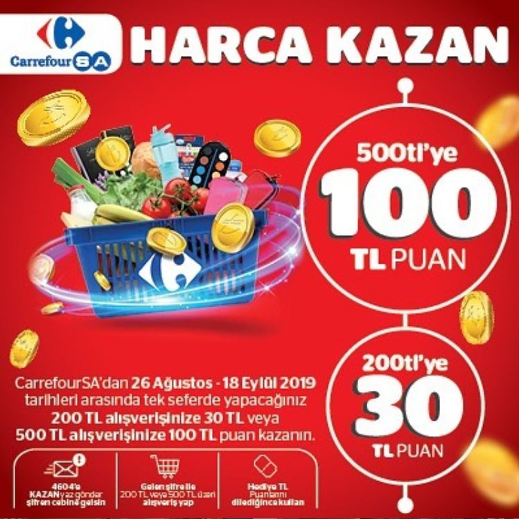 CarrefourSA'dan 100 TL Puan Kazanma Fırsatı!
