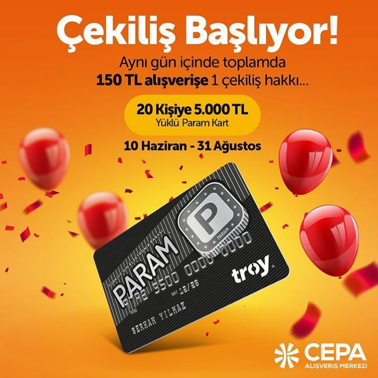 CEPA'dan 20 Kişiye 5.000 TL Yüklü Param Kart Çekiliş Kampanyası!