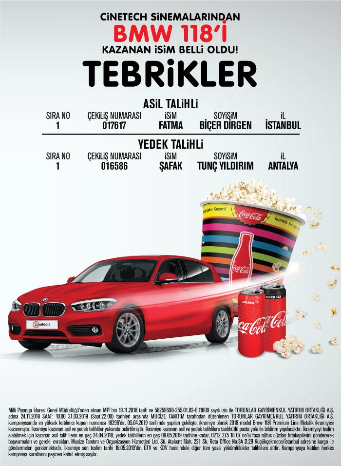 Cinetech Sinemaları BMW 118i Çekiliş Sonucu Açıklandı!