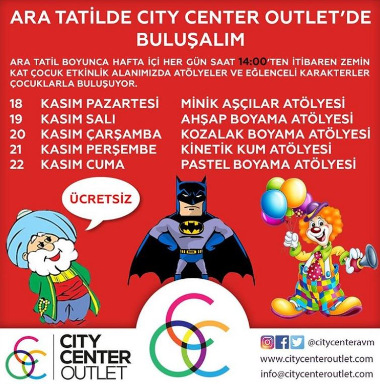 City Center Outlet Ara Tatil Etkinlikleri!