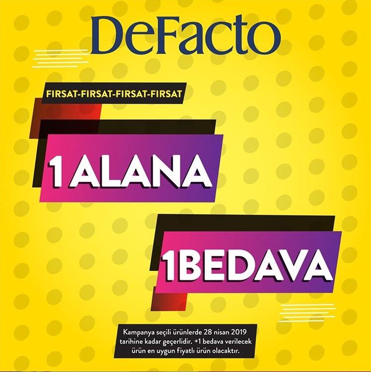 DeFacto'da 1 Alana 1 Bedava Fırsatı!