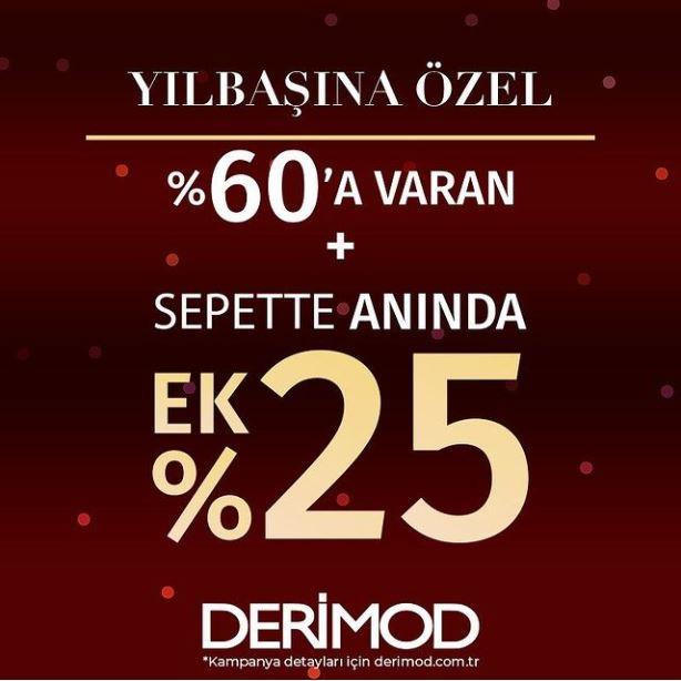 Derimod'da %60 indirime ek %25 indirim fırsatı!