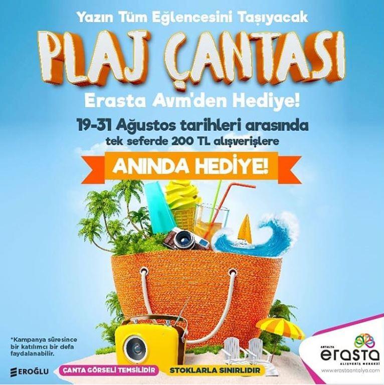 Yazın tüm eğlencesini taşıyacak Plaj Çantası Erasta Avm'den hediye!