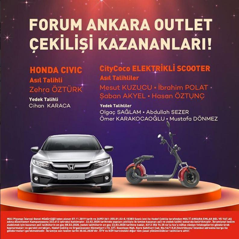 Forum Ankara Outlet Honda Civic Çekiliş Sonucu Açıklandı!