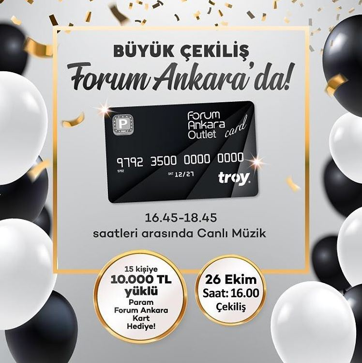 Forum Ankara'da 10.000 TL Yüklü Param Kart Çekilişi Gerçekleşiyor!