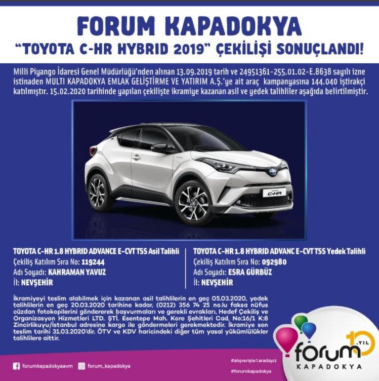 Forum Kapadokya Toyota C-HR Çekiliş Sonucu Açıklandı!