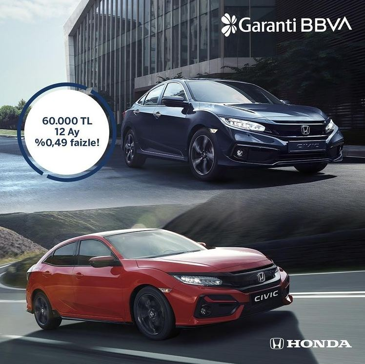 Honda Civic'e özel faiz fırsatı Garanti BBVA'da!