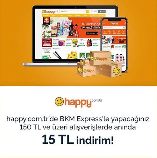 BKM Express ilehappy.com.tr'de anında 15 TL indirim!