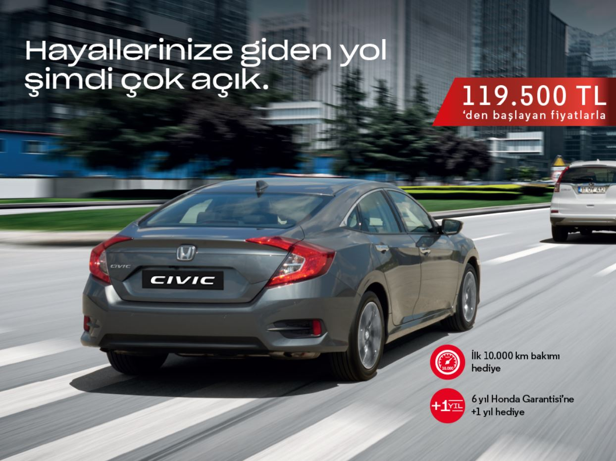 Honda Civic 119.500 TL'den başlayan fiyatlarla!