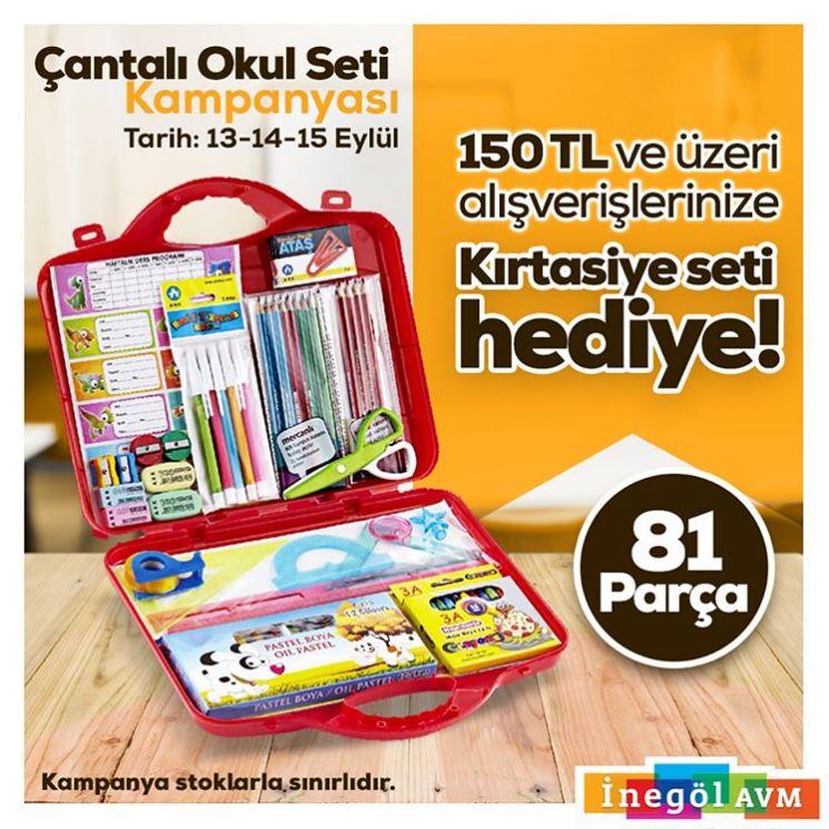 İnegöl AVM Okula Dönüş Kırtasiye Seti Hediye Kampanyası!