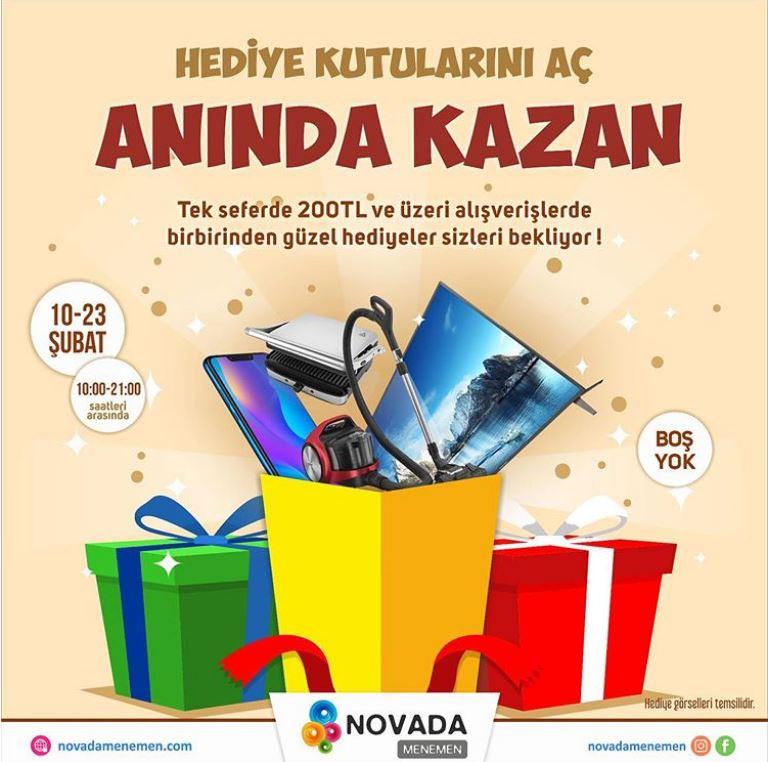 Novada Menemen'de Hediye Kutularını Aç Anında Kazan!