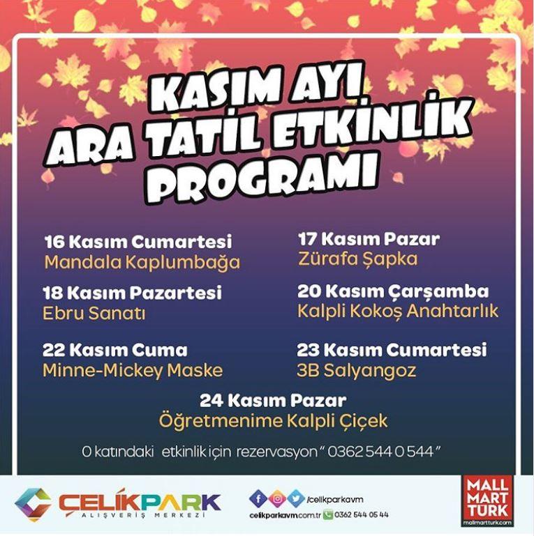 ÇelikPark AVM Kasım Ayı Ara Tatil Etkinlik Programı!