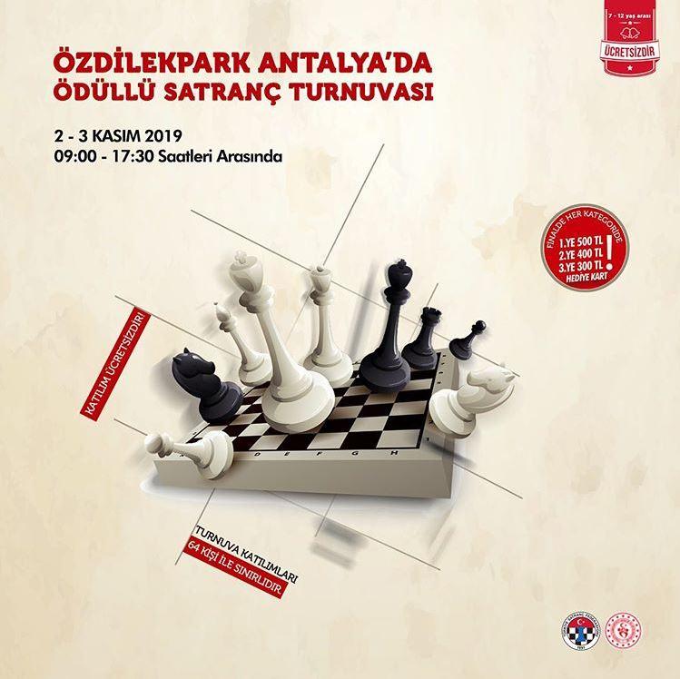 Ödüllü satranç turnuvası ÖzdilekPark Antalya'da