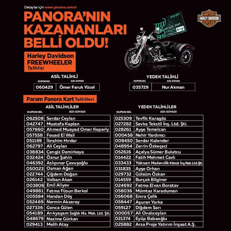 Panora AVM Harley Davidson Çekiliş Sonucu Açıklandı!