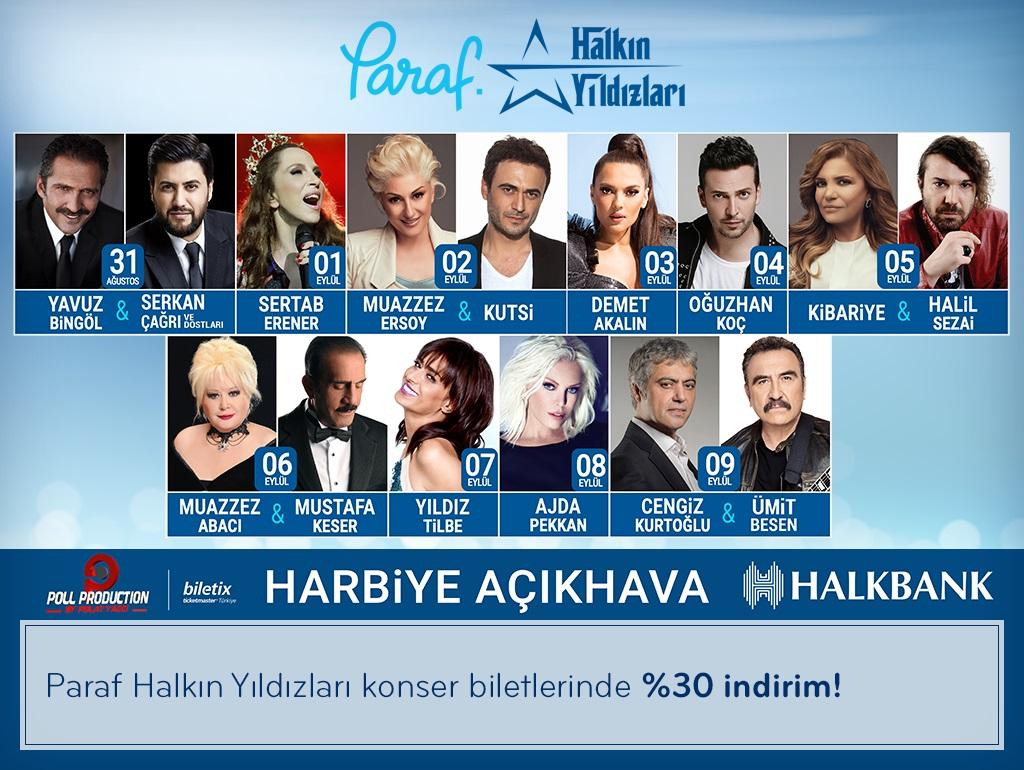 Paraf Halkın Yıldızları Konser biletlerinde %30 indirim!