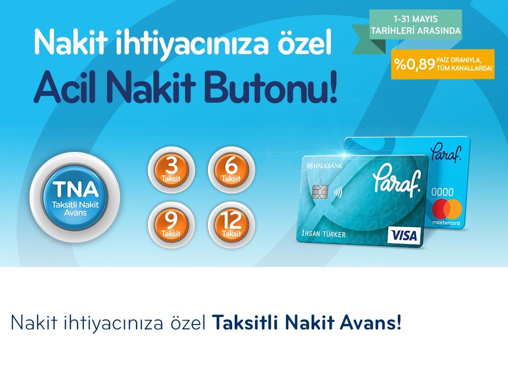 Paraf ile %0,89 faiz oranı ile Taksitli Nakit Avans!