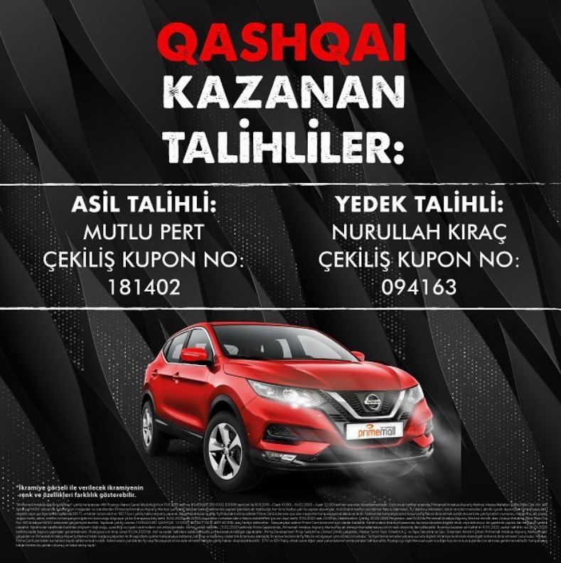 Primemall Antakya Nissan Qashqai Çekiliş Sonucu Açıklandı!