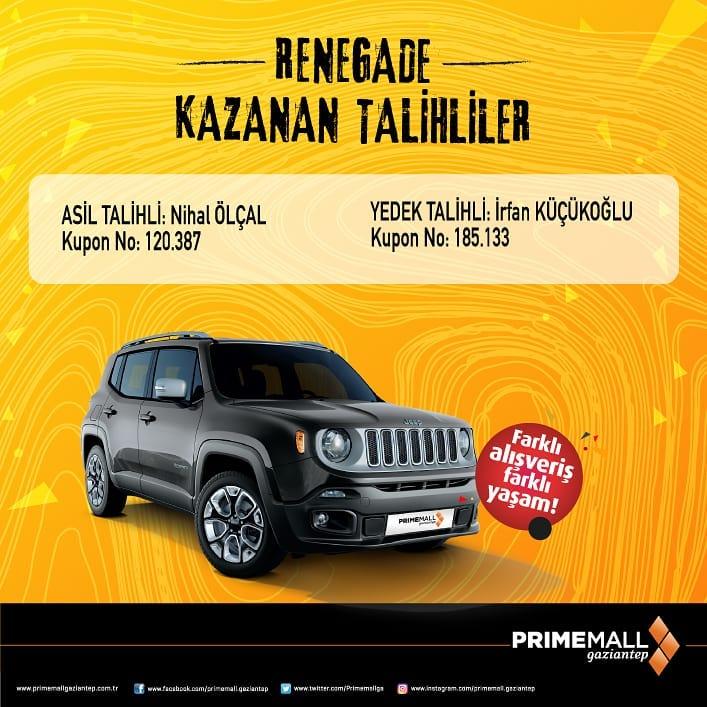Primemall Gaziantep Jeep Renegade Çekiliş Sonucu Açıklandı!
