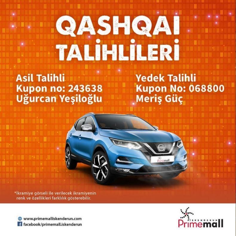 Primemall İskenderun Nissan Qashqai Çekiliş Sonucu Açıklandı!