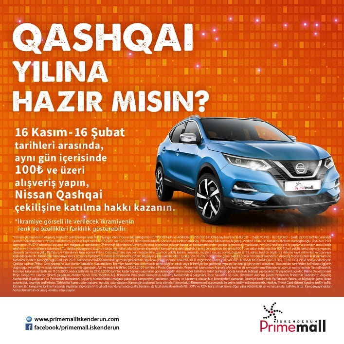 Primemall İskenderun Nissan Qashqai Çekiliş Kampanyası!