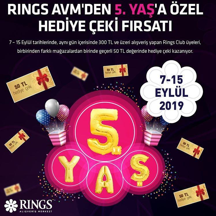 5. yaşa özel hediye çeki fırsatı Rings AVM'de!