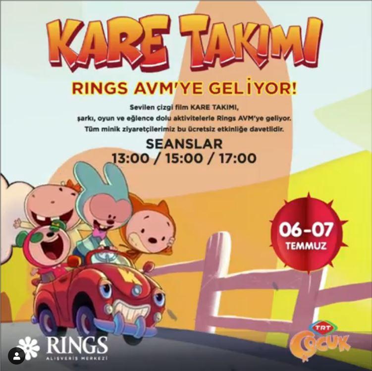 Eğlenceli çizgi film Kare Takımı Rings AVM'de!