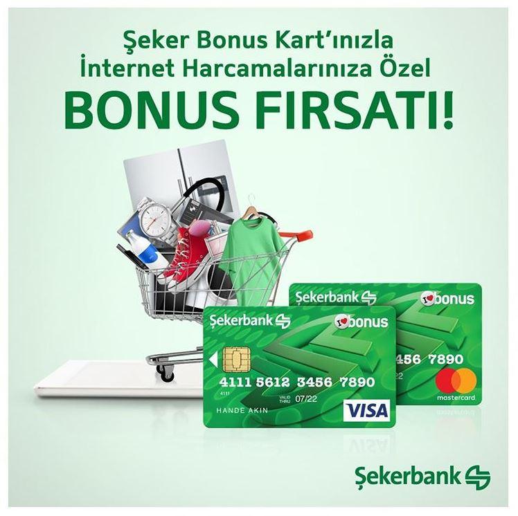 Şeker Bonus Kart'ınızla İnternet Harcamalarınıza 50 TL Bonus!