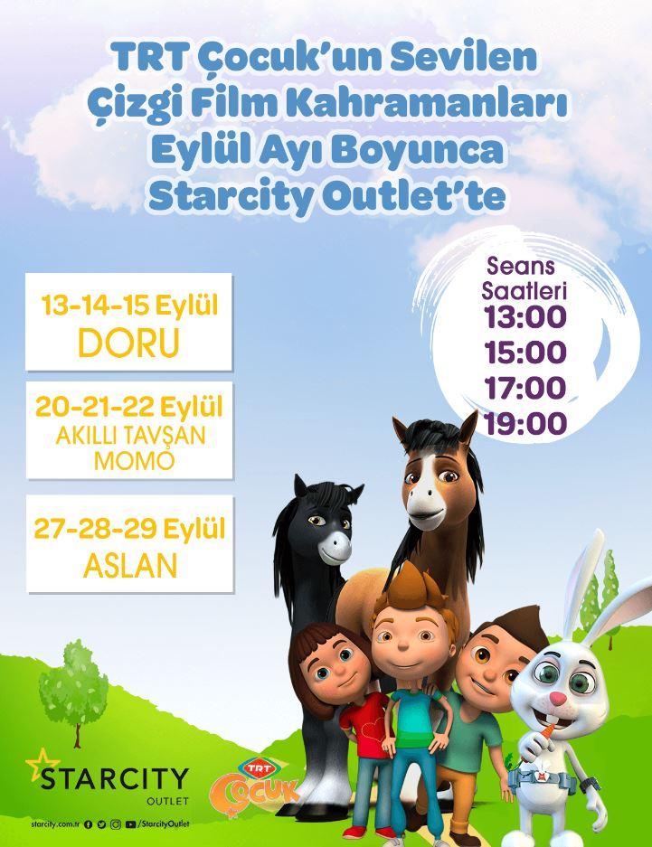 TRT Çocuk'un Sevilen Çizgi Film Kahramanları Eylül Ayı Boyunca Starcity Outlet'te !