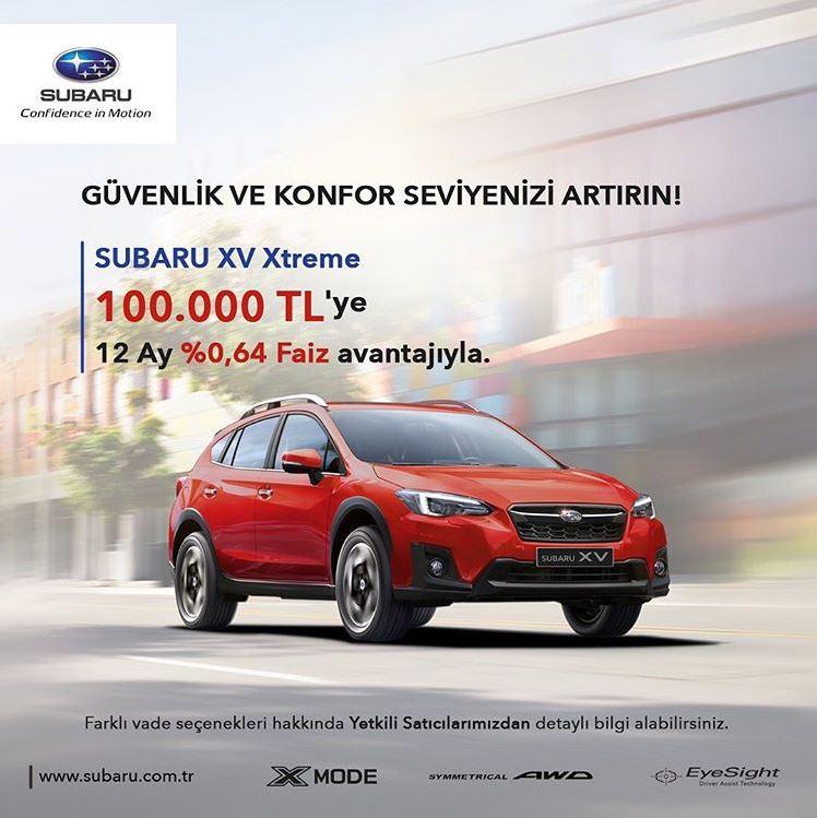 Subaru XV Xtreme 100.000 TL'ye 12 Ay %0.64 Faiz!