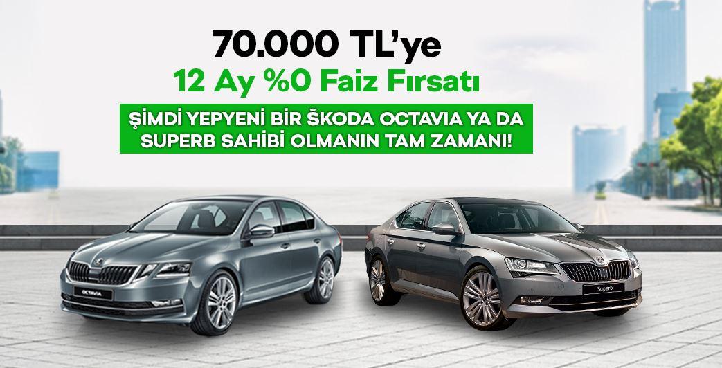 Şimdi Yepyeni Skoda Araçları 70.000 TL %0 Faizli kredi ile alın!