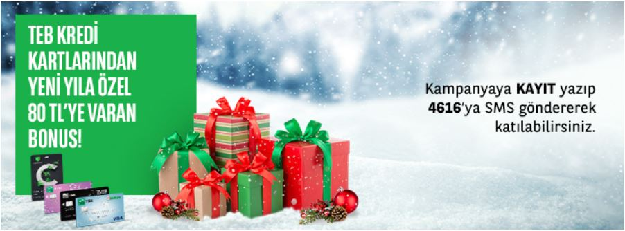 TEB Kredi Kartlarından Yeni Yıla Özel 80 TL Bonus!