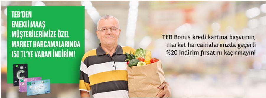 TEB Bonus'a Başvuran Emeklilere Market Harcamalarında 150TL'ye Varan İndirim!