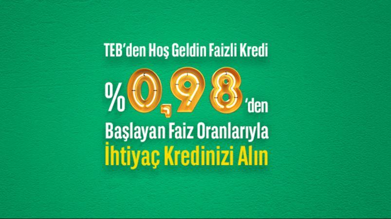 TEB'den % 0,98 Faiz Oranlı İhtiyaç Kredisi!