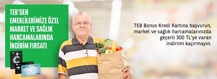 TEB'den Emeklilere 300 TL Market ve Sağlık İndirimi