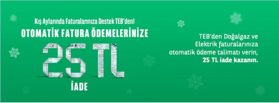 Faturalarınızı Otomatiğe Bağlayın TEB'den 25 TL Geri Kazanın!