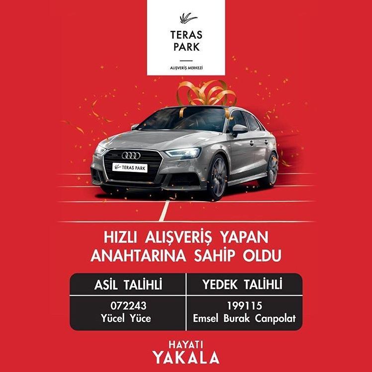 Teras Park AVM Audi A3 çekiliş sonucu açıklandı.