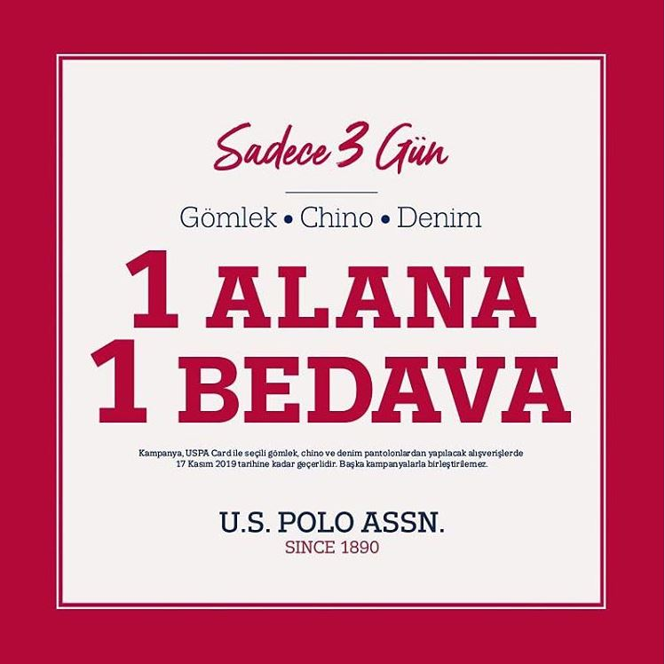 US Polo Assn'de 1 Alana 1 Bedava!