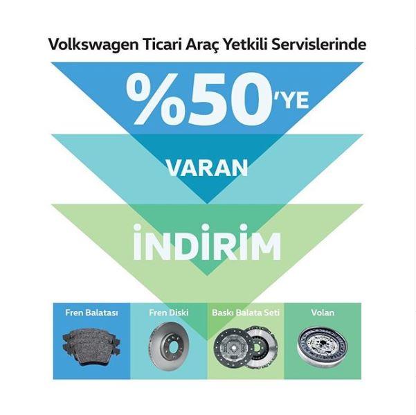 Volkswagen ticari aracınızın aşınan parçaları %50'ye varan indirimlerle yenileniyor.